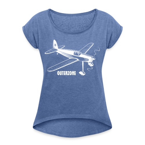 Outerzone t-shirt, white logo - Women's T-Shirt with rolled up sleeves