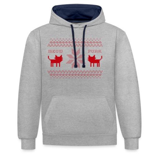 Christmas Cats - Sudadera con capucha en contraste