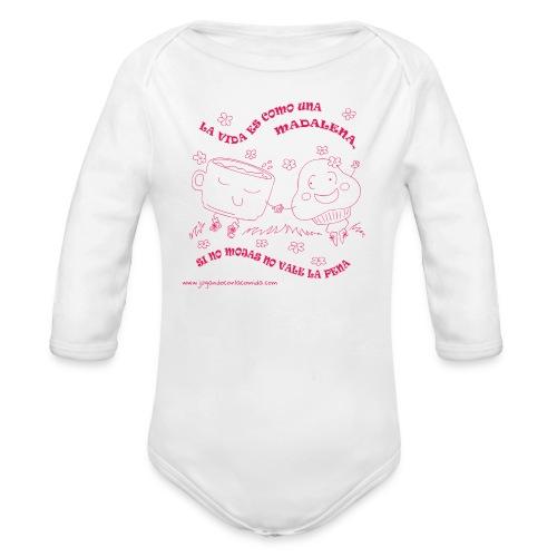 La vida es como una Madalena... - Body orgánico de manga larga para bebé