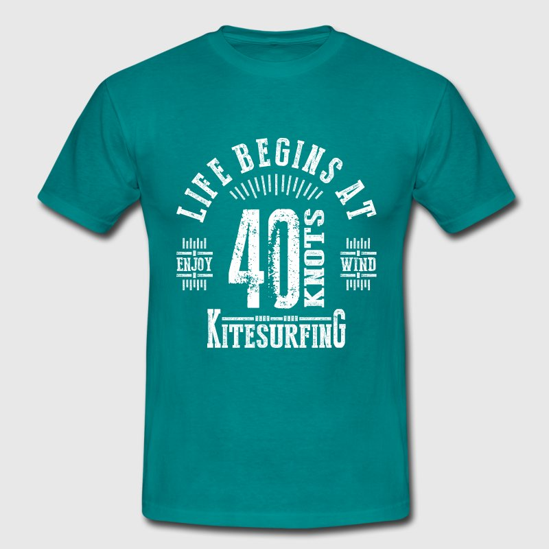 Life Begins at 40 Knots Kitesurfing Black Design - Men's T-Shirt