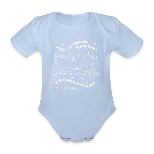 La vida es como una Madalena... - Body orgánico de maga corta para bebé