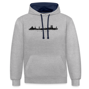 München Skyline (Vintage/Schwarz) S-5XL T-Shirt - Kontrast-Hoodie