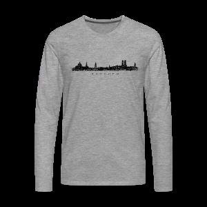 München Skyline (Vintage/Schwarz) S-5XL T-Shirt - Männer Premium Langarmshirt