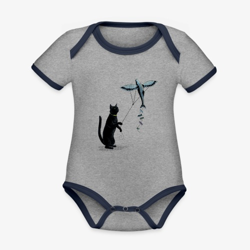 Cat with Kite - Organic Baby Contrasting Bodysuit