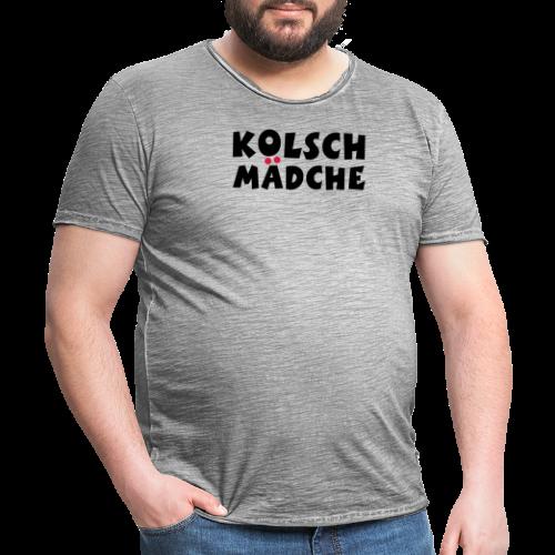 Kölsch Mädche mit Ö und Ä (Schwarz/Rot) Mädchen aus Köln - Männer Vintage T-Shirt