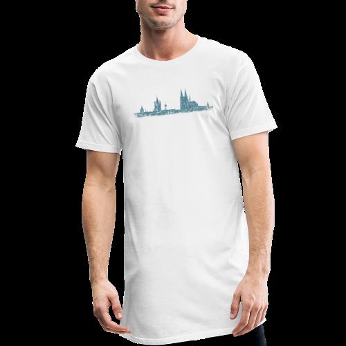 Köln Skyline (Vintage Blau) Kölner Stadtansicht Panorama - Männer Urban Longshirt