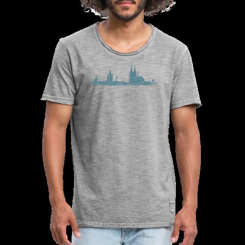 Köln Skyline (Vintage Blau) Kölner Stadtansicht Panorama - Männer Vintage T-Shirt