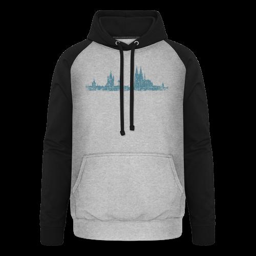 Köln Skyline (Vintage Blau) Kölner Stadtansicht Panorama - Unisex Baseball Hoodie