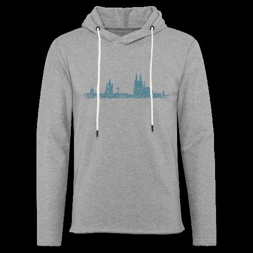 Köln Skyline (Vintage Blau) Kölner Stadtansicht Panorama - Leichtes Kapuzensweatshirt Unisex