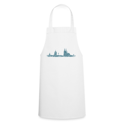 Köln Skyline (Vintage Blau) Kölner Stadtansicht Panorama - Kochschürze