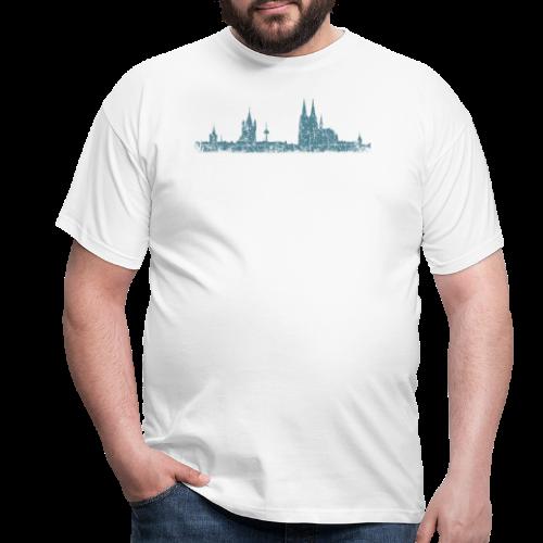 Köln Skyline (Vintage Blau) Kölner Stadtansicht Panorama - Männer T-Shirt