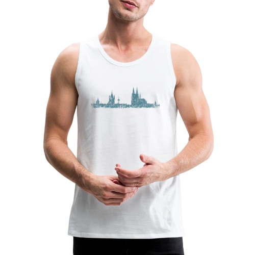 Köln Skyline (Vintage Blau) Kölner Stadtansicht Panorama - Männer Premium Tank Top