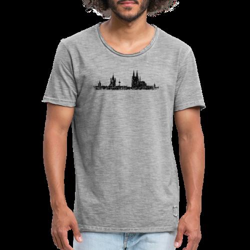 Kölner Skyline (Vintage Schwarz) Köln Panorama Stadtansicht - Männer Vintage T-Shirt