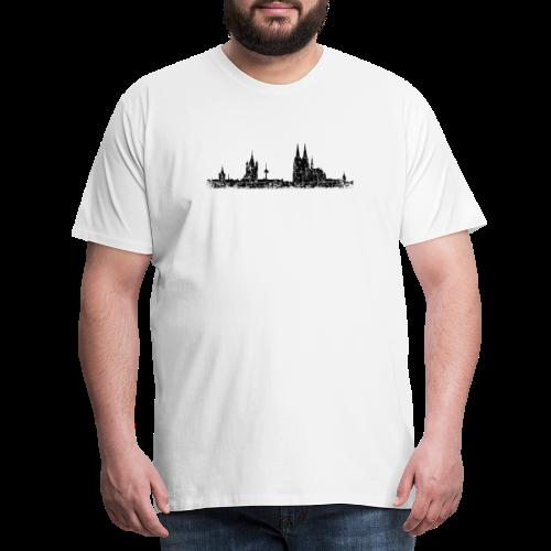 Kölner Skyline (Vintage Schwarz) Köln Panorama Stadtansicht - Männer Premium T-Shirt