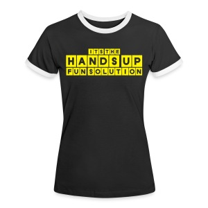 Happy Revolution Frauen Top (Pink-Gelb) - Frauen Kontrast-T-Shirt