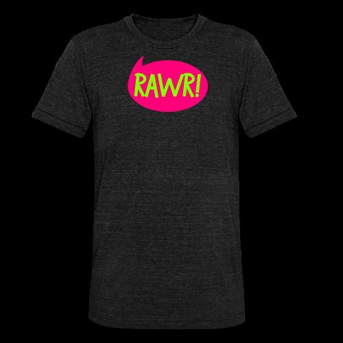 Bozilla - RAWR! - T-Shirt mit gerollten Ärmeln - Unisex Tri-Blend T-Shirt von Bella + Canvas
