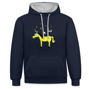 Einhorn mit Burg, Unicorn, Märchen, Pferd, Sterne T-Shirts - Kontrast-Hoodie