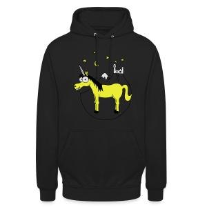Einhorn mit Burg, Unicorn, Märchen, Pferd, Sterne T-Shirts - Unisex Hoodie