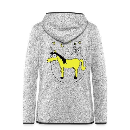 Einhorn mit Burg, Unicorn, Märchen, Pferd, Sterne T-Shirts - Frauen Kapuzen-Fleecejacke