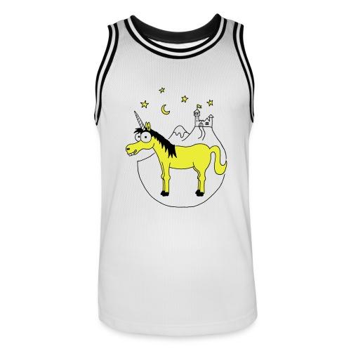 Einhorn mit Burg, Unicorn, Märchen, Pferd, Sterne T-Shirts - Männer Basketball-Trikot