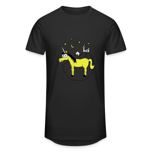 Einhorn mit Burg, Unicorn, Märchen, Pferd, Sterne T-Shirts - Männer Urban Longshirt