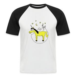 Einhorn mit Burg, Unicorn, Märchen, Pferd, Sterne T-Shirts - Männer Baseball-T-Shirt