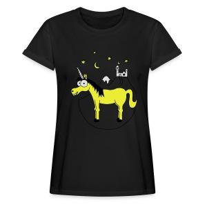 Einhorn mit Burg, Unicorn, Märchen, Pferd, Sterne T-Shirts - Frauen Oversize T-Shirt