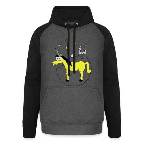 Einhorn mit Burg, Unicorn, Märchen, Pferd, Sterne T-Shirts - Unisex Baseball Hoodie