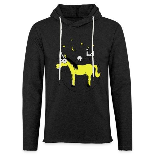 Einhorn mit Burg, Unicorn, Märchen, Pferd, Sterne T-Shirts - Leichtes Kapuzensweatshirt Unisex