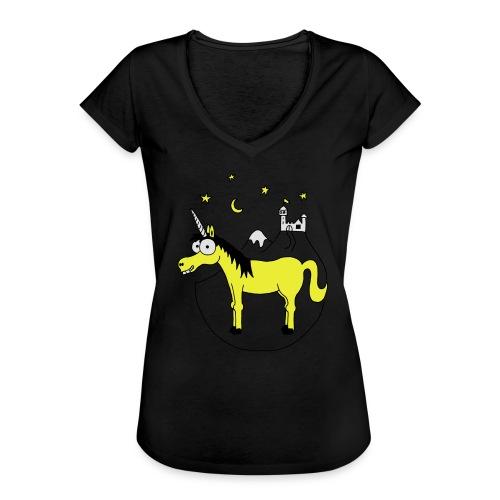 Einhorn mit Burg, Unicorn, Märchen, Pferd, Sterne T-Shirts - Frauen Vintage T-Shirt