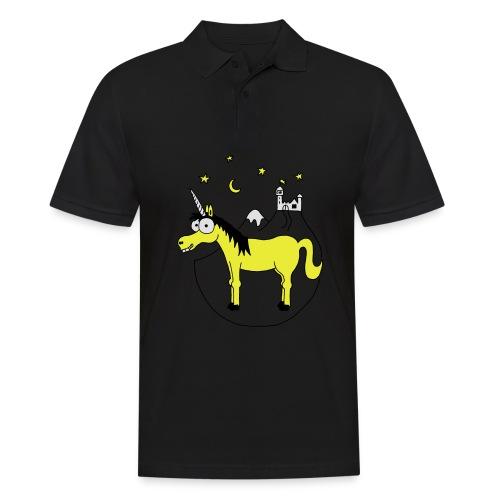 Einhorn mit Burg, Unicorn, Märchen, Pferd, Sterne T-Shirts - Männer Poloshirt