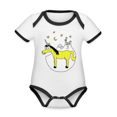 Einhorn mit Burg, Unicorn, Märchen, Pferd, Sterne T-Shirts - Baby Bio-Kurzarm-Kontrastbody