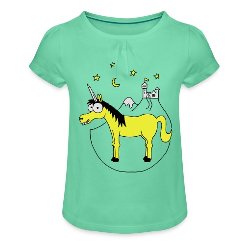 Einhorn mit Burg, Unicorn, Märchen, Pferd, Sterne T-Shirts - Mädchen-T-Shirt mit Raffungen