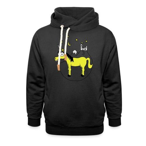 Einhorn mit Burg, Unicorn, Märchen, Pferd, Sterne T-Shirts - Schalkragen Hoodie