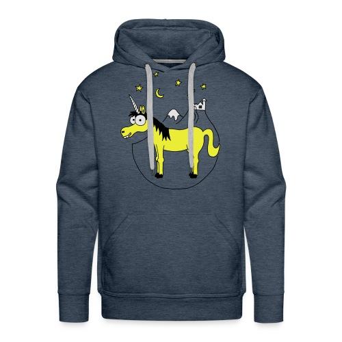 Einhorn mit Burg, Unicorn, Märchen, Pferd, Sterne T-Shirts - Männer Premium Hoodie