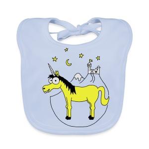 Einhorn mit Burg, Unicorn, Märchen, Pferd, Sterne T-Shirts - Baby Bio-Lätzchen