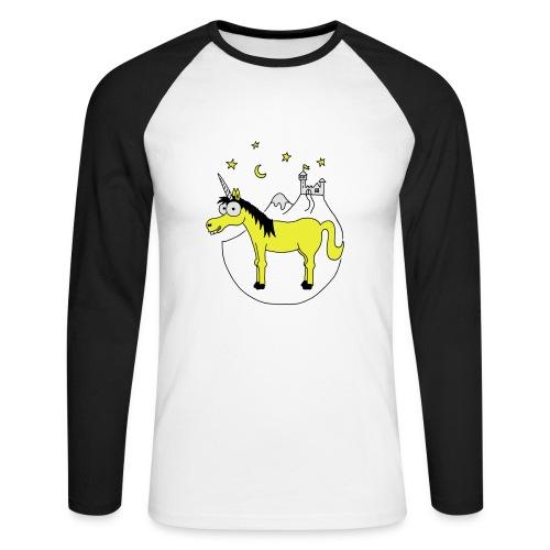 Einhorn mit Burg, Unicorn, Märchen, Pferd, Sterne T-Shirts - Männer Baseballshirt langarm