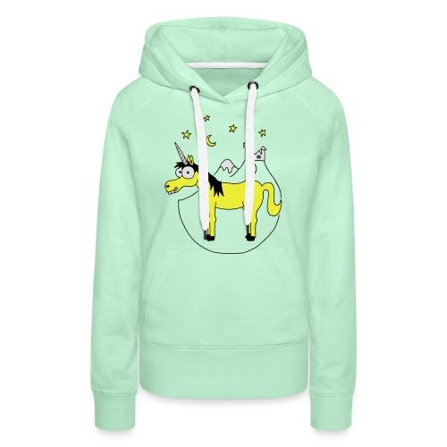 Einhorn mit Burg, Unicorn, Märchen, Pferd, Sterne T-Shirts - Frauen Premium Hoodie