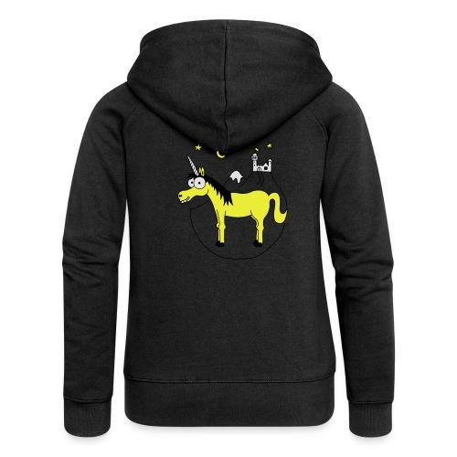Einhorn mit Burg, Unicorn, Märchen, Pferd, Sterne T-Shirts - Frauen Premium Kapuzenjacke