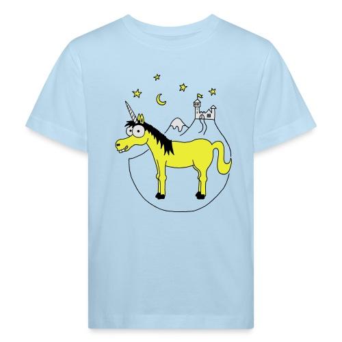 Einhorn mit Burg, Unicorn, Märchen, Pferd, Sterne T-Shirts - Kinder Bio-T-Shirt