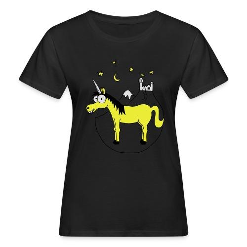 Einhorn mit Burg, Unicorn, Märchen, Pferd, Sterne T-Shirts - Frauen Bio-T-Shirt