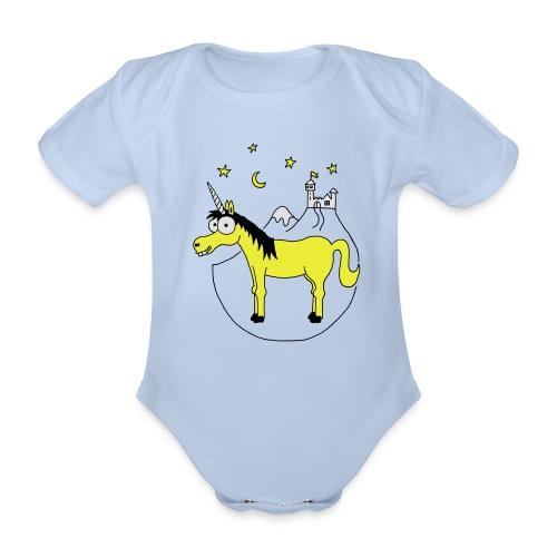 Einhorn mit Burg, Unicorn, Märchen, Pferd, Sterne T-Shirts - Baby Bio-Kurzarm-Body