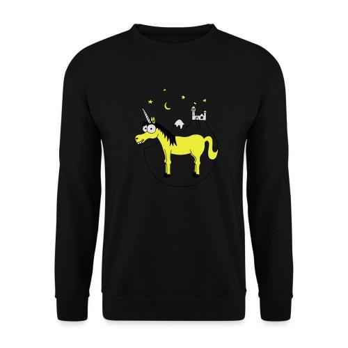 Einhorn mit Burg, Unicorn, Märchen, Pferd, Sterne T-Shirts - Männer Pullover