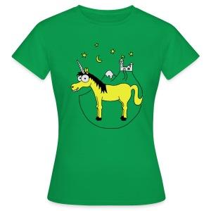 Einhorn mit Burg, Unicorn, Märchen, Pferd, Sterne T-Shirts - Frauen T-Shirt