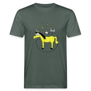 Einhorn mit Burg, Unicorn, Märchen, Pferd, Sterne T-Shirts - Männer Bio-T-Shirt