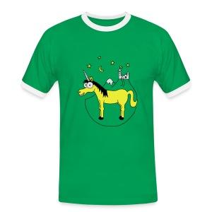 Einhorn mit Burg, Unicorn, Märchen, Pferd, Sterne T-Shirts - Männer Kontrast-T-Shirt