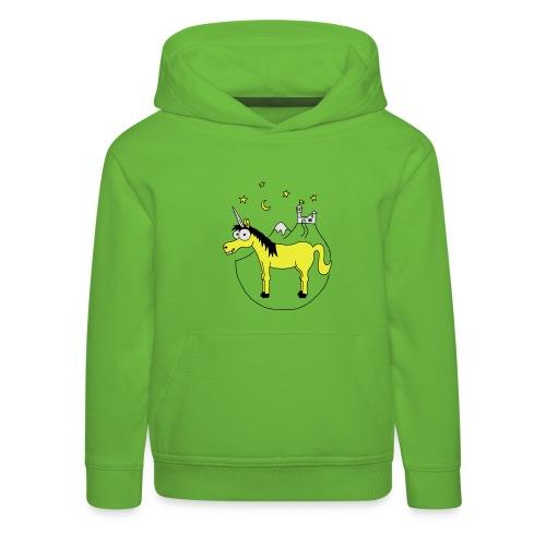Einhorn mit Burg, Unicorn, Märchen, Pferd, Sterne T-Shirts - Kinder Premium Hoodie