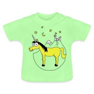Einhorn mit Burg, Unicorn, Märchen, Pferd, Sterne T-Shirts - Baby T-Shirt