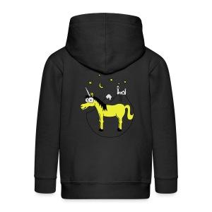 Einhorn mit Burg, Unicorn, Märchen, Pferd, Sterne T-Shirts - Kinder Premium Kapuzenjacke