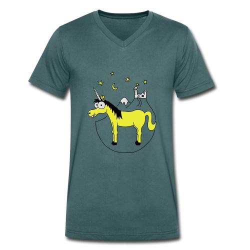 Einhorn mit Burg, Unicorn, Märchen, Pferd, Sterne T-Shirts - Männer Bio-T-Shirt mit V-Ausschnitt von Stanley & Stella